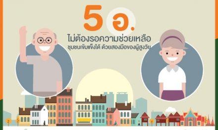 """""""5อ."""" ไม่ต้องรอความช่วยเหลือ …ชุมชนเข้มแข็งได้ ด้วยสองมือของผู้สูงวัย"""