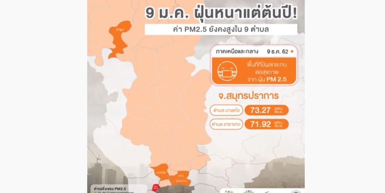 9 ม.ค. ฝุ่นหนาแต่ต้นปี! เหนือ-กลาง ค่า PM2.5 ยังคงสูงใน 9 ตำบล